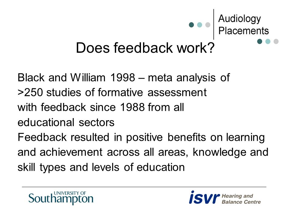 Does feedback work? Black and William 1998 – meta analysis of >250 studies of formative assessment with feedback since 1988 from all educational secto