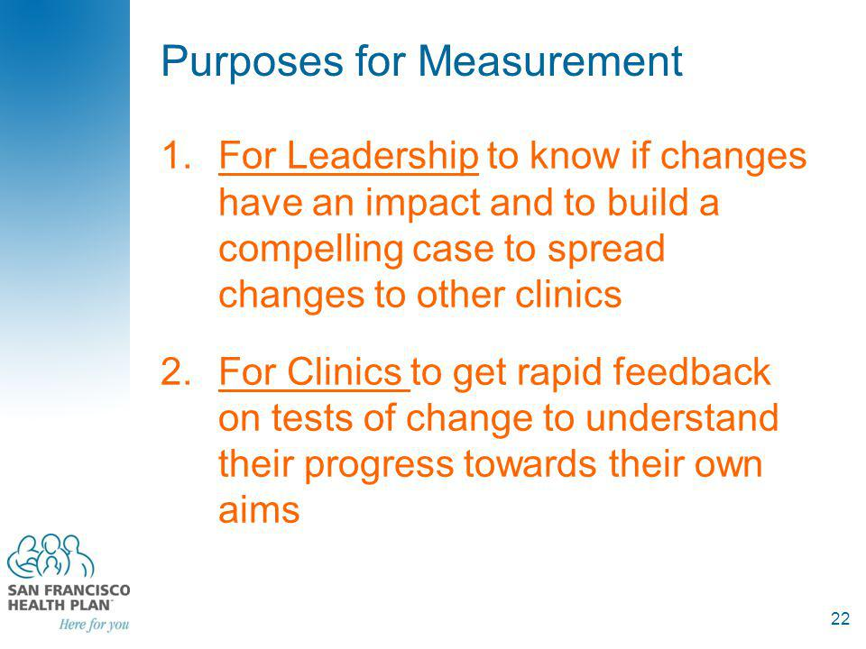 Purposes for Measurement 1.For Leadership to know if changes have an impact and to build a compelling case to spread changes to other clinics 2.For Clinics to get rapid feedback on tests of change to understand their progress towards their own aims 22