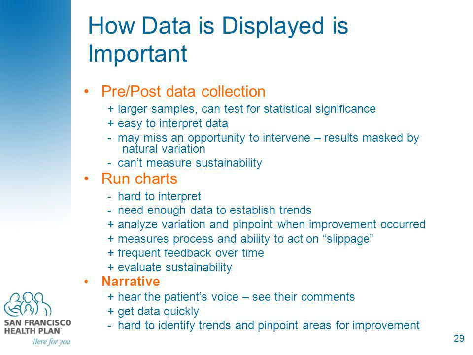 How Data is Displayed is Important Pre/Post data collection + larger samples, can test for statistical significance + easy to interpret data - may miss an opportunity to intervene – results masked by natural variation - cant measure sustainability Run charts - hard to interpret - need enough data to establish trends + analyze variation and pinpoint when improvement occurred + measures process and ability to act on slippage + frequent feedback over time + evaluate sustainability Narrative + hear the patients voice – see their comments + get data quickly - hard to identify trends and pinpoint areas for improvement 29