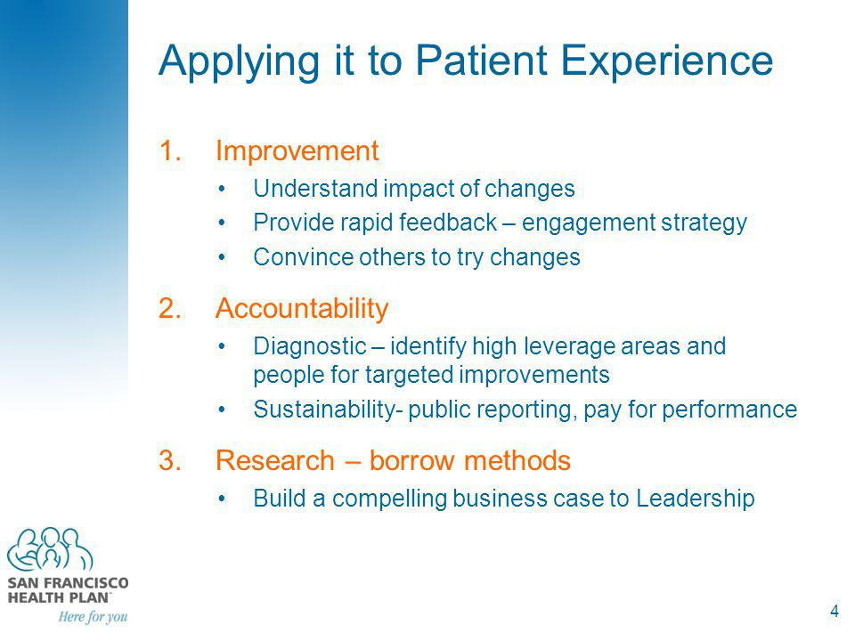 Measurement Continuum Identify Areas and Providers for Improvement Evaluate Impact of Changes Spreading & Sustaining Improvements 5