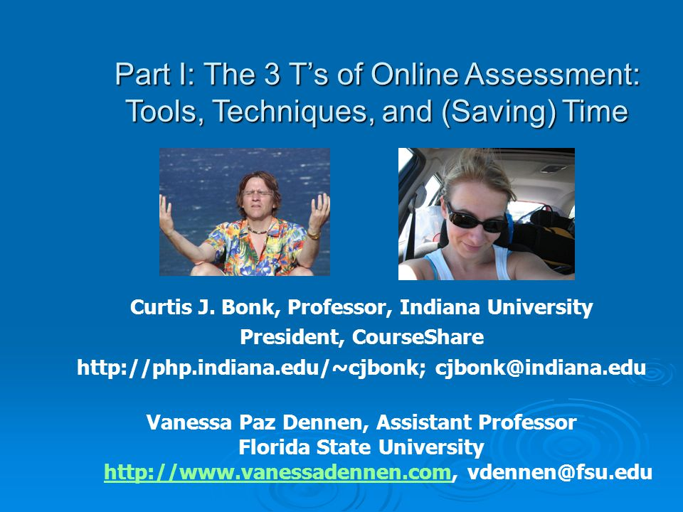 Examples: Online Self- Assessment Self-tests: Use test tool to create self-tests (multiple choice, true false) Self-tests: Use test tool to create self-tests (multiple choice, true false) May wish to track student efforts May wish to track student efforts Can incentivize use (essentially, use as a learning tool) Can incentivize use (essentially, use as a learning tool) Reflection papers: Have students submit brief, focused papers expressing the strengths and assessments of their assignment(s) Reflection papers: Have students submit brief, focused papers expressing the strengths and assessments of their assignment(s)