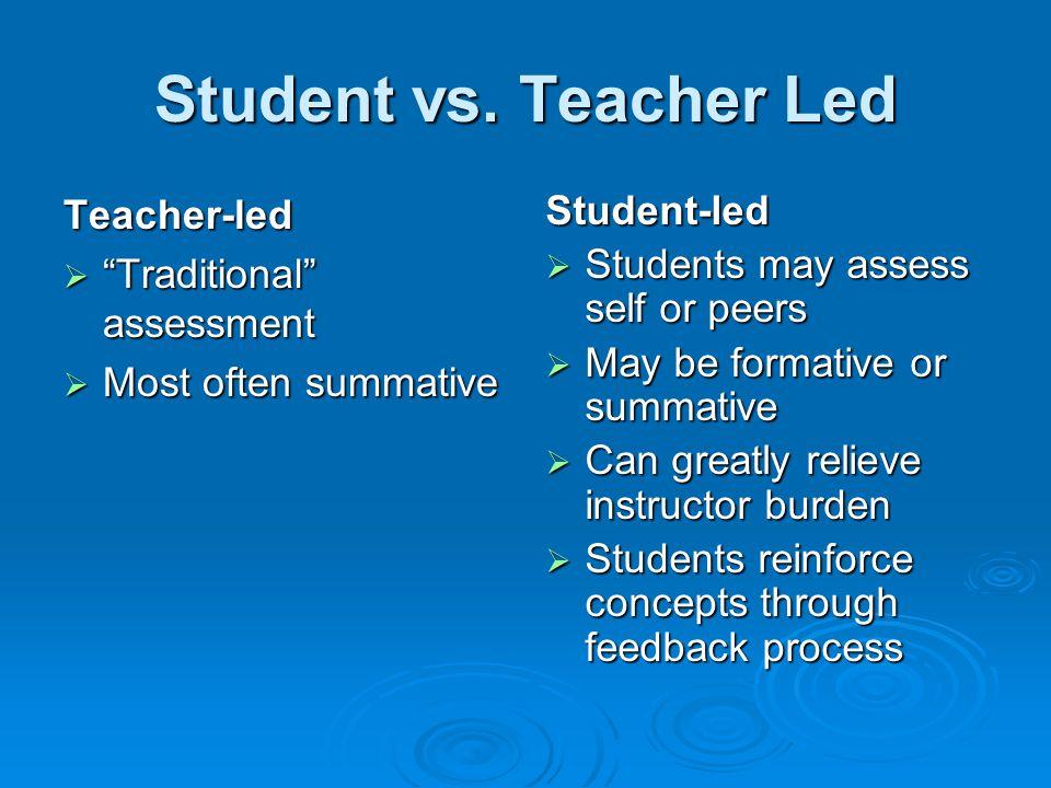 Student vs. Teacher Led Teacher-led Traditional assessment Traditional assessment Most often summative Most often summativeStudent-led Students may as