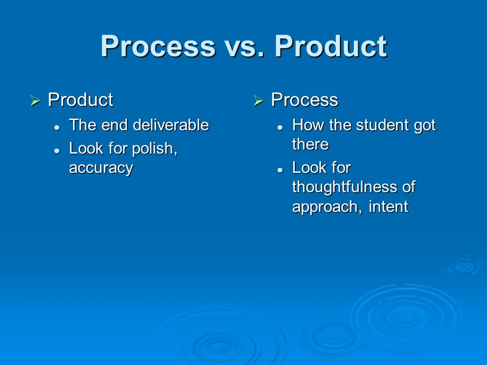 Process vs. Product Product Product The end deliverable The end deliverable Look for polish, accuracy Look for polish, accuracy Process Process How th