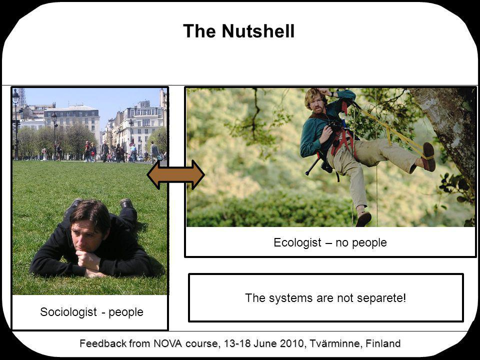 The Nutshell Feedback from NOVA course, 13-18 June 2010, Tvärminne, Finland Sociologist - people Ecologist – no people The systems are not separete!