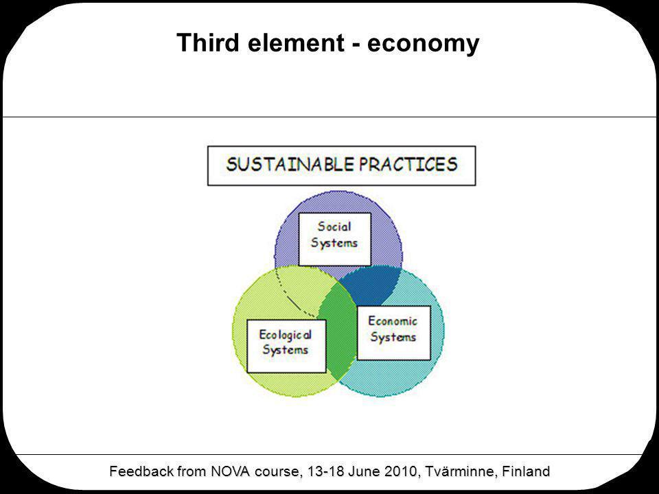 Third element - economy Feedback from NOVA course, 13-18 June 2010, Tvärminne, Finland