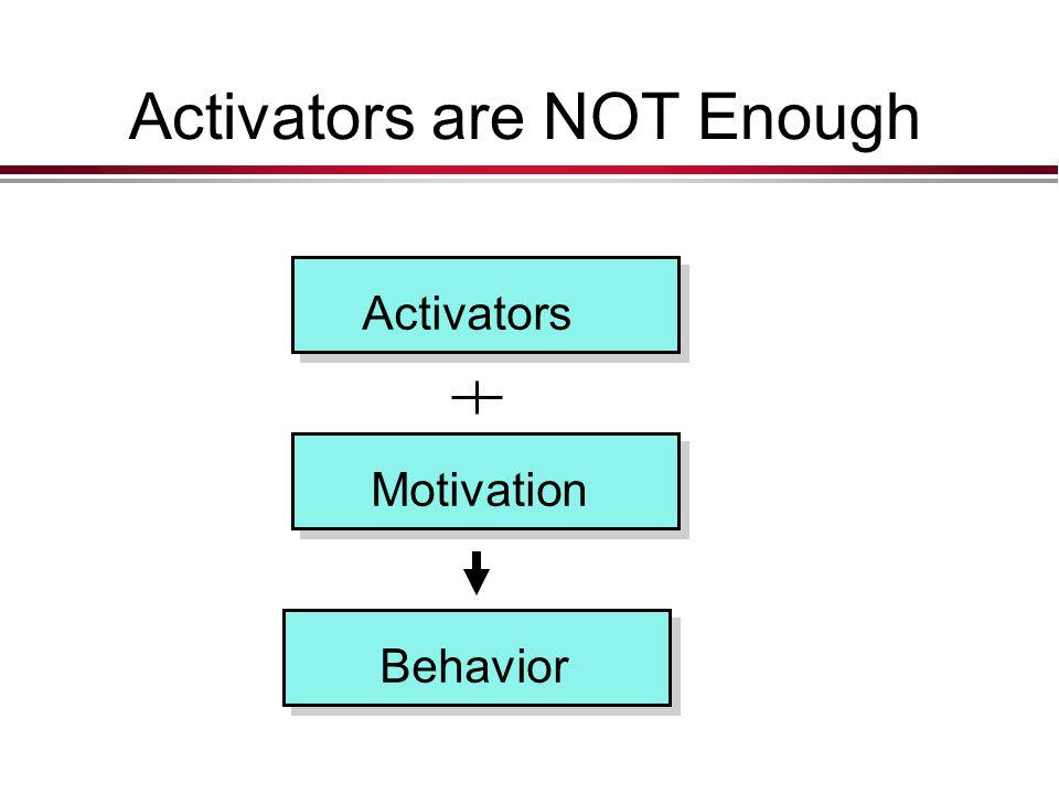 Activators are NOT Enough Activators Motivation Behavior