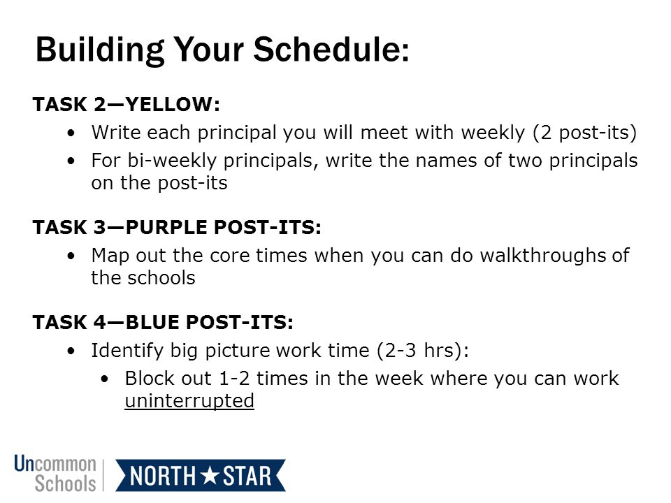 Building Your Schedule: TASK 2YELLOW: Write each principal you will meet with weekly (2 post-its) For bi-weekly principals, write the names of two principals on the post-its TASK 3PURPLE POST-ITS: Map out the core times when you can do walkthroughs of the schools TASK 4BLUE POST-ITS: Identify big picture work time (2-3 hrs): Block out 1-2 times in the week where you can work uninterrupted