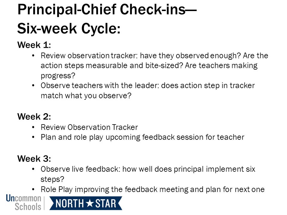Principal-Chief Check-ins Six-week Cycle: Week 1: Review observation tracker: have they observed enough.