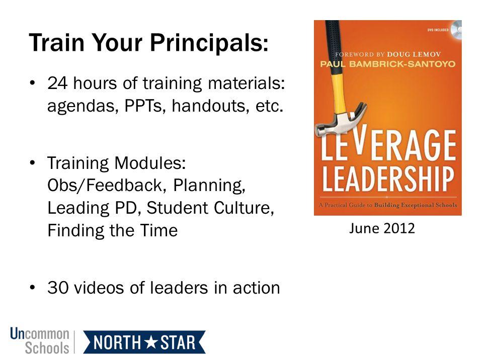 Train Your Principals: 24 hours of training materials: agendas, PPTs, handouts, etc.