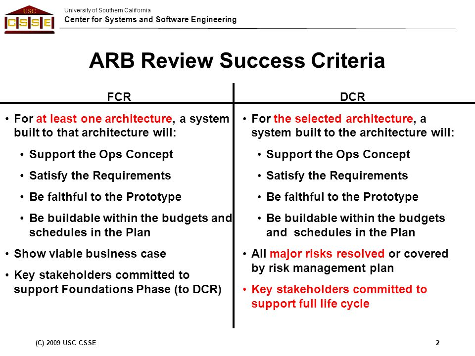 University of Southern California Center for Systems and Software Engineering (C) 2009 USC CSSE2 ARB Review Success Criteria 2 FCR For at least one architecture, a system built to that architecture will: Support the Ops Concept Satisfy the Requirements Be faithful to the Prototype Be buildable within the budgets and schedules in the Plan Show viable business case Key stakeholders committed to support Foundations Phase (to DCR) DCR For the selected architecture, a system built to the architecture will: Support the Ops Concept Satisfy the Requirements Be faithful to the Prototype Be buildable within the budgets and schedules in the Plan All major risks resolved or covered by risk management plan Key stakeholders committed to support full life cycle