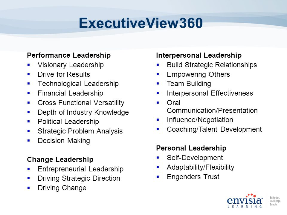 ExecutiveView360 Performance Leadership Visionary Leadership Drive for Results Technological Leadership Financial Leadership Cross Functional Versatility Depth of Industry Knowledge Political Leadership Strategic Problem Analysis Decision Making Change Leadership Entrepreneurial Leadership Driving Strategic Direction Driving Change Interpersonal Leadership Build Strategic Relationships Empowering Others Team Building Interpersonal Effectiveness Oral Communication/Presentation Influence/Negotiation Coaching/Talent Development Personal Leadership Self-Development Adaptability/Flexibility Engenders Trust