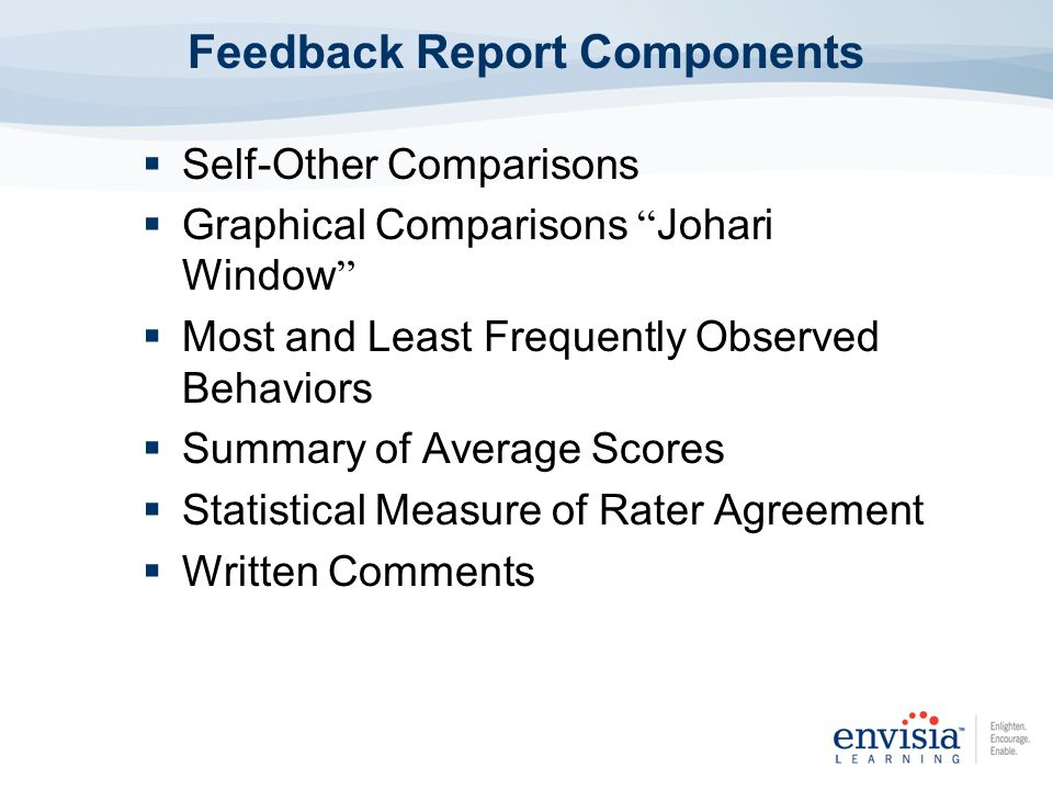 Self-Other Comparisons Graphical Comparisons Johari Window Most and Least Frequently Observed Behaviors Summary of Average Scores Statistical Measure of Rater Agreement Written Comments Feedback Report Components