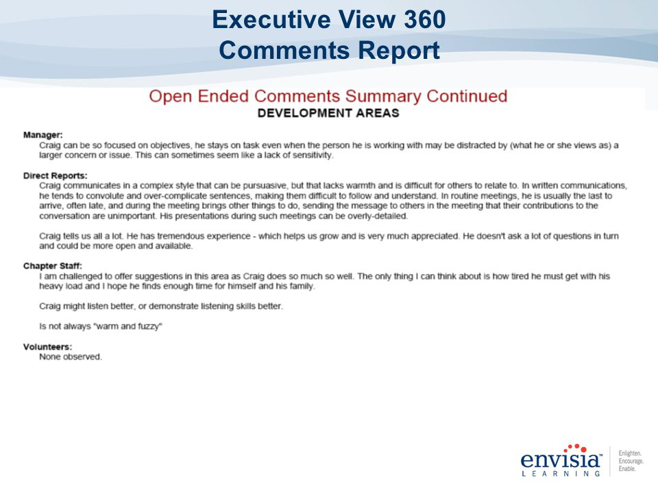 Executive View 360 Comments Report