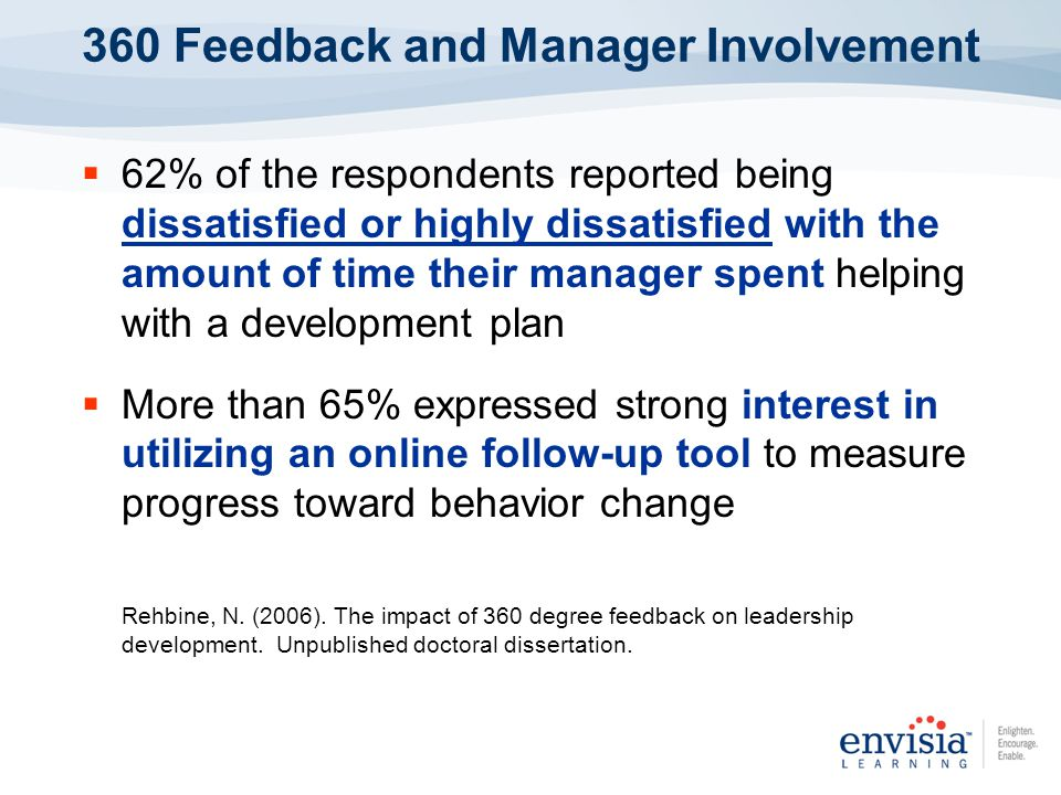 62% of the respondents reported being dissatisfied or highly dissatisfied with the amount of time their manager spent helping with a development plan More than 65% expressed strong interest in utilizing an online follow-up tool to measure progress toward behavior change Rehbine, N.