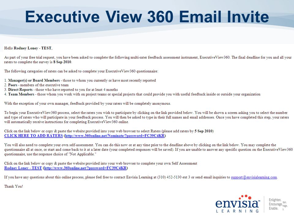 Executive View 360 Email Invite