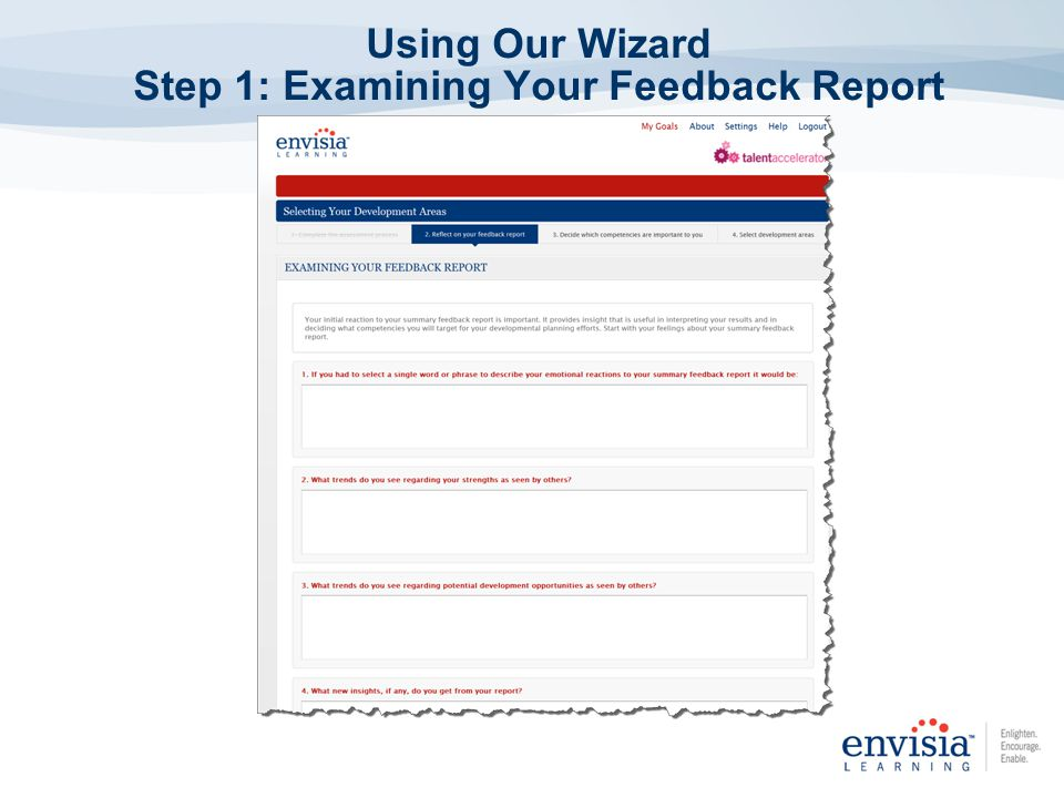 Using Our Wizard Step 1: Examining Your Feedback Report