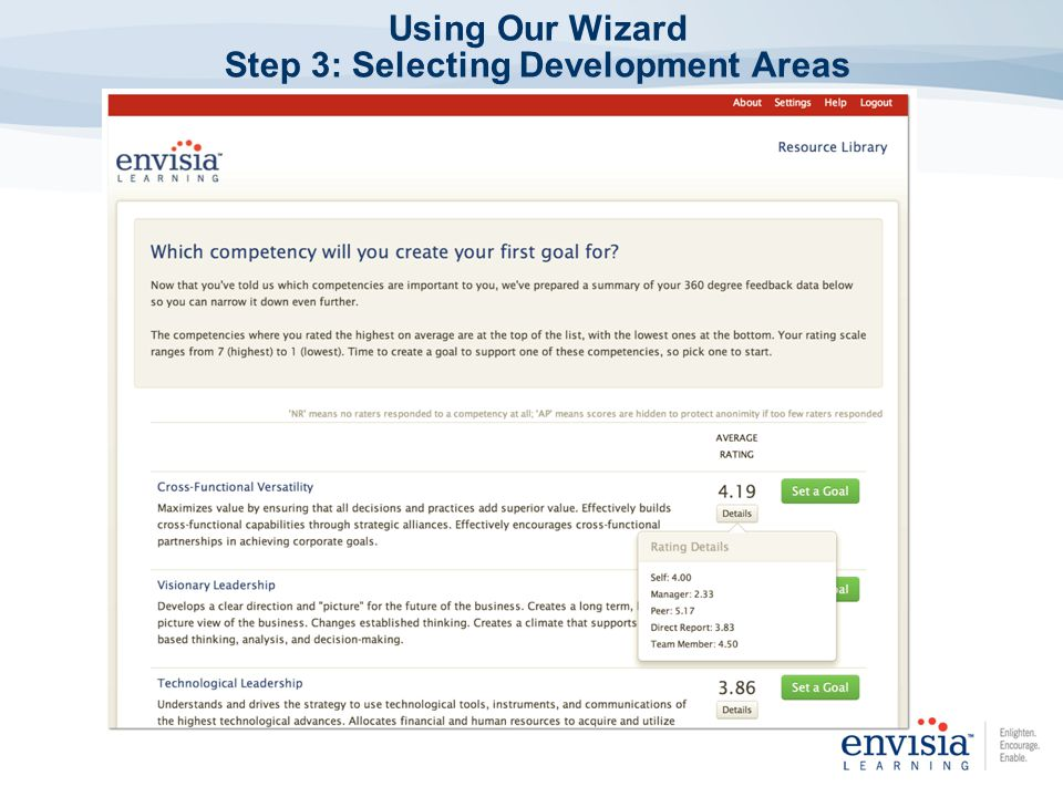 Using Our Wizard Step 3: Selecting Development Areas