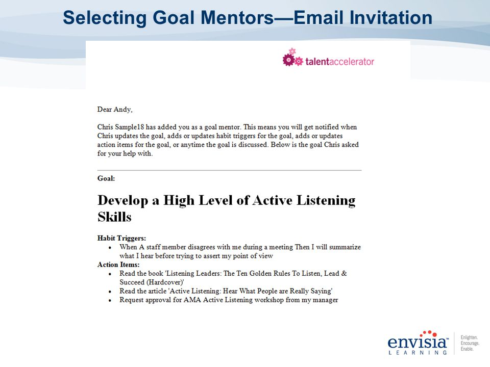 Selecting Goal MentorsEmail Invitation