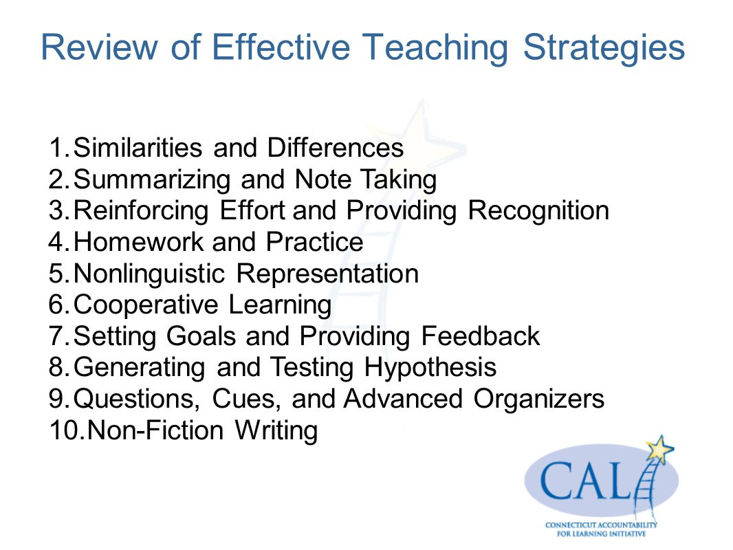 Review of Effective Teaching Strategies 1.Similarities and Differences 2.Summarizing and Note Taking 3.Reinforcing Effort and Providing Recognition 4.Homework and Practice 5.Nonlinguistic Representation 6.Cooperative Learning 7.Setting Goals and Providing Feedback 8.Generating and Testing Hypothesis 9.Questions, Cues, and Advanced Organizers 10.Non-Fiction Writing