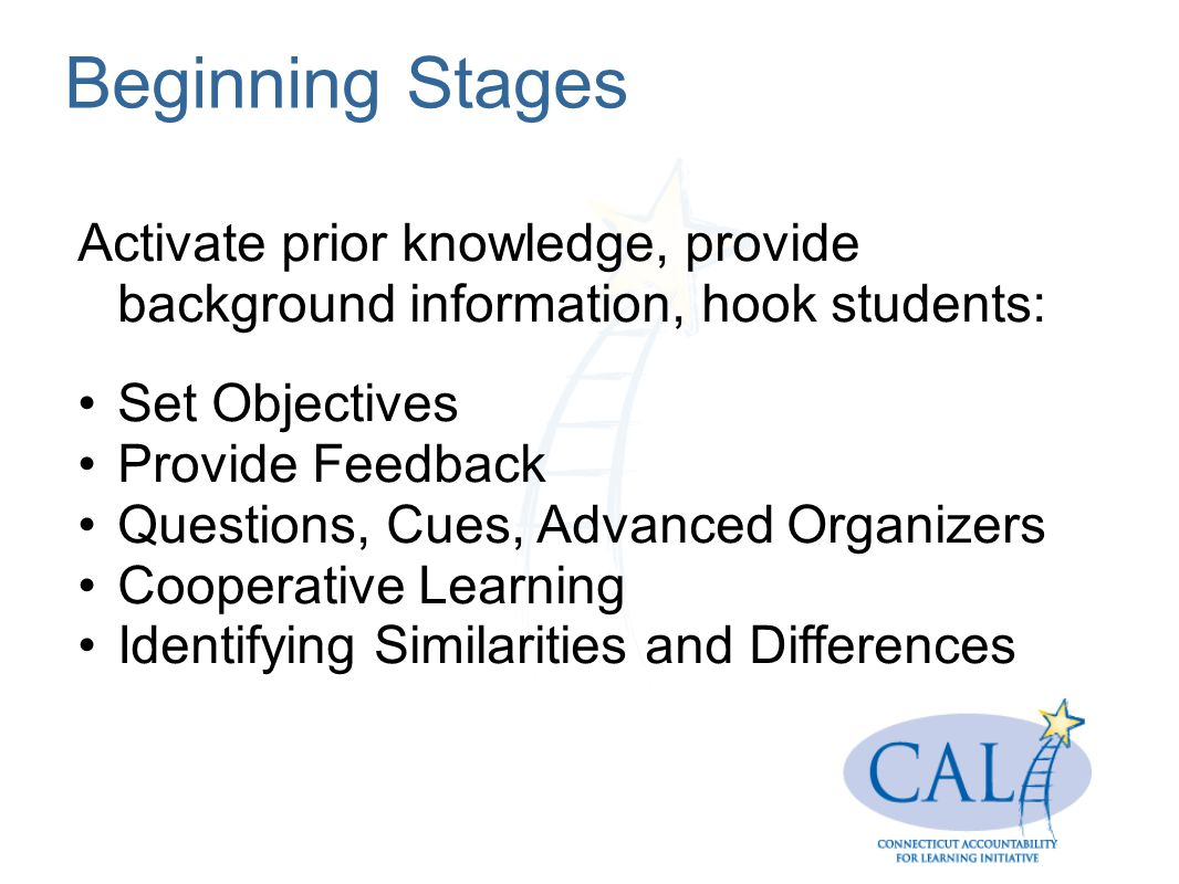 Beginning Stages Activate prior knowledge, provide background information, hook students: Set Objectives Provide Feedback Questions, Cues, Advanced Organizers Cooperative Learning Identifying Similarities and Differences