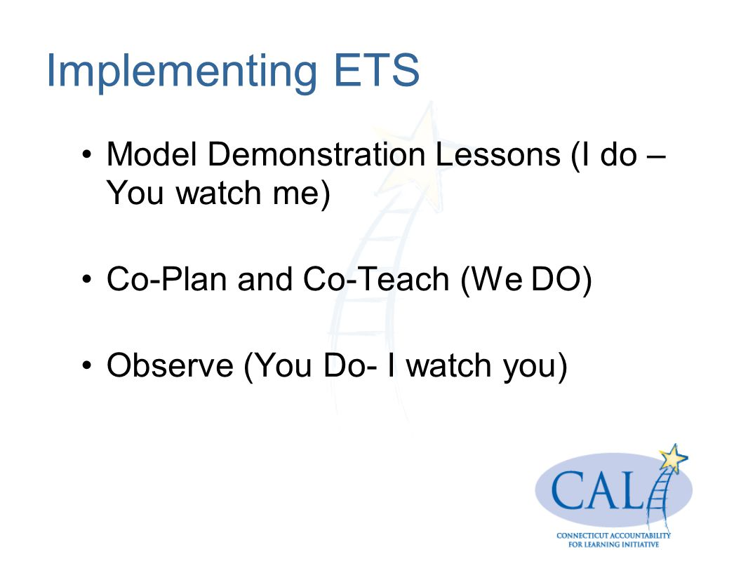 Implementing ETS Model Demonstration Lessons (I do – You watch me) Co-Plan and Co-Teach (We DO) Observe (You Do- I watch you)