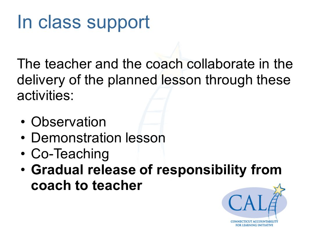In class support The teacher and the coach collaborate in the delivery of the planned lesson through these activities: Observation Demonstration lesson Co-Teaching Gradual release of responsibility from coach to teacher