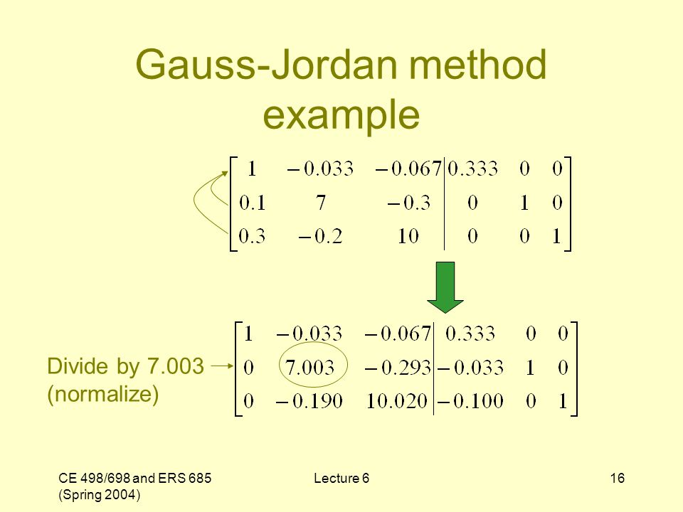 CE 498/698 and ERS 685 (Spring 2004) Lecture 616 Gauss-Jordan method example Divide by 7.003 (normalize)