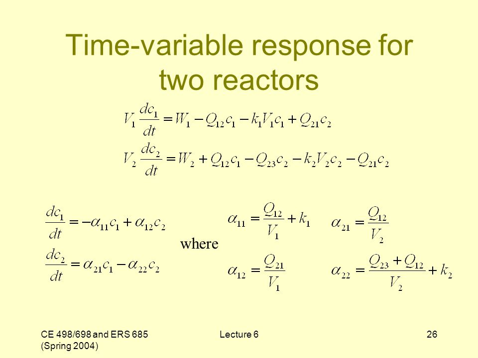 CE 498/698 and ERS 685 (Spring 2004) Lecture 626 Time-variable response for two reactors where