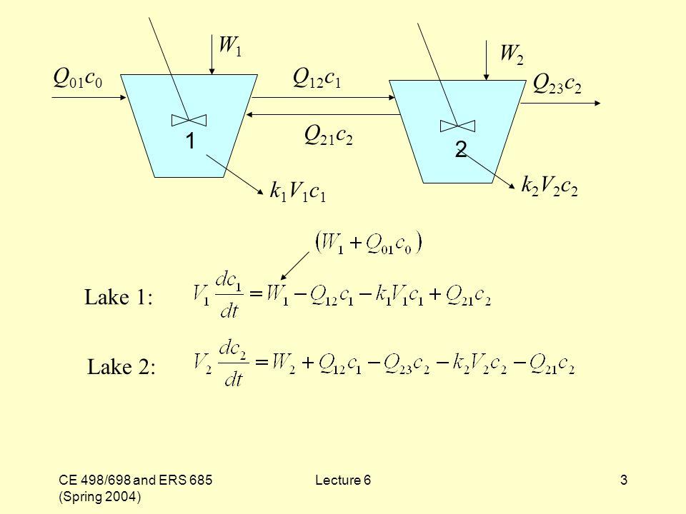 CE 498/698 and ERS 685 (Spring 2004) Lecture 63 Lake 1: W1W1 W2W2 Q 01 c 0 Q 12 c 1 Q 23 c 2 Q 21 c 2 k1V1c1k1V1c1 k2V2c2k2V2c2 1 2 Lake 2: