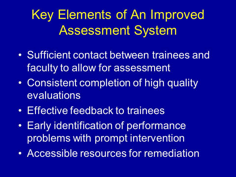Key Elements of An Improved Assessment System Sufficient contact between trainees and faculty to allow for assessment Consistent completion of high quality evaluations Effective feedback to trainees Early identification of performance problems with prompt intervention Accessible resources for remediation