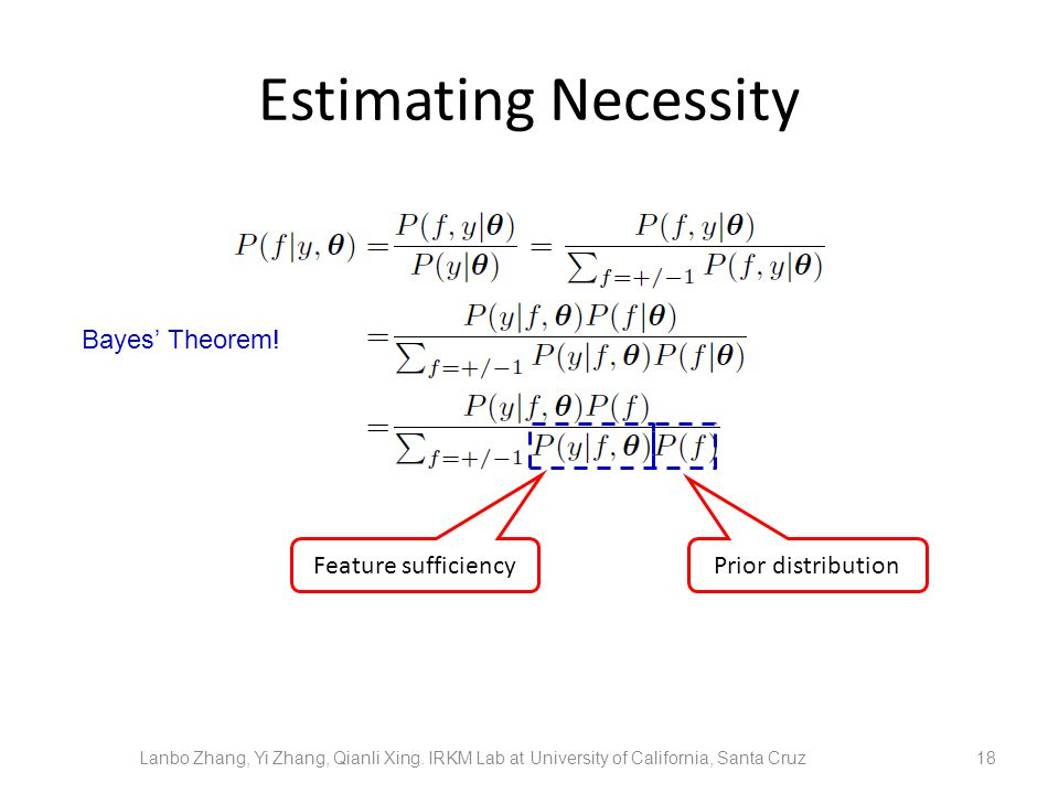 Estimating Necessity 18 Feature sufficiency Bayes Theorem! Lanbo Zhang, Yi Zhang, Qianli Xing. IRKM Lab at University of California, Santa Cruz Prior