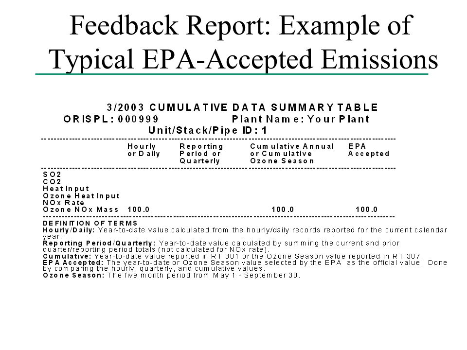 Feedback Report: Example of Typical EPA-Accepted Emissions