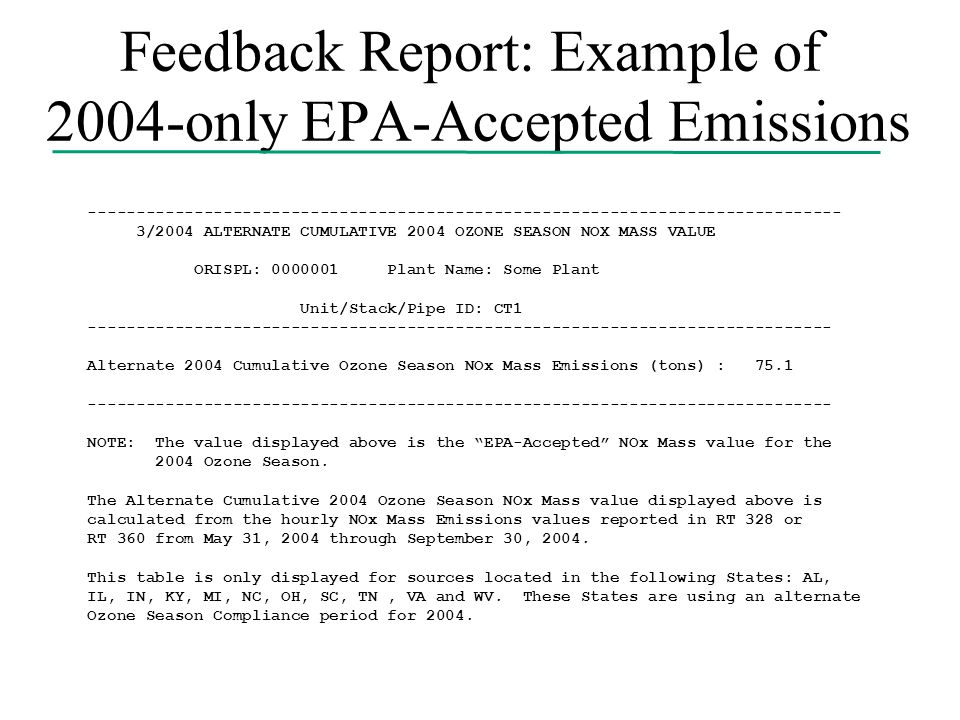 Feedback Report: Example of 2004-only EPA-Accepted Emissions ------------------------------------------------------------------------------ 3/2004 ALTERNATE CUMULATIVE 2004 OZONE SEASON NOX MASS VALUE ORISPL: 0000001 Plant Name: Some Plant Unit/Stack/Pipe ID: CT1 ----------------------------------------------------------------------------- Alternate 2004 Cumulative Ozone Season NOx Mass Emissions (tons) : 75.1 ----------------------------------------------------------------------------- NOTE: The value displayed above is the EPA-Accepted NOx Mass value for the 2004 Ozone Season.