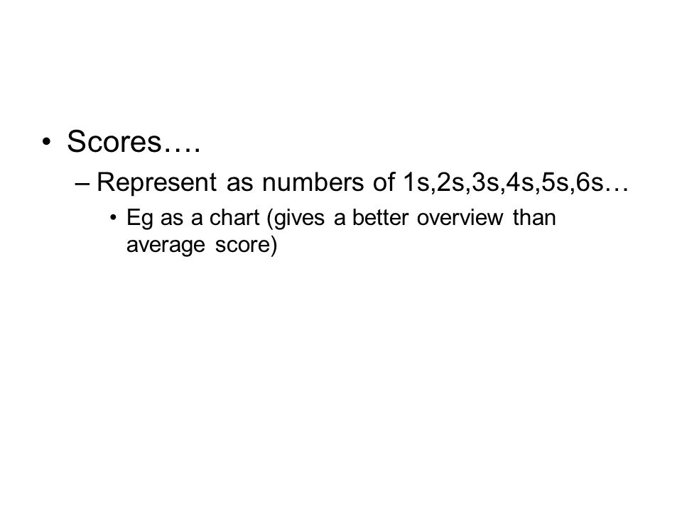 Scores…. –Represent as numbers of 1s,2s,3s,4s,5s,6s… Eg as a chart (gives a better overview than average score)