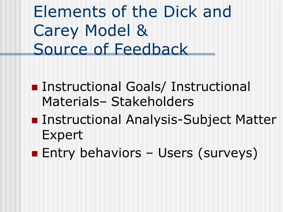 Elements of the Dick and Carey Model & Source of Feedback Instructional Goals/ Instructional Materials– Stakeholders Instructional Analysis-Subject Ma