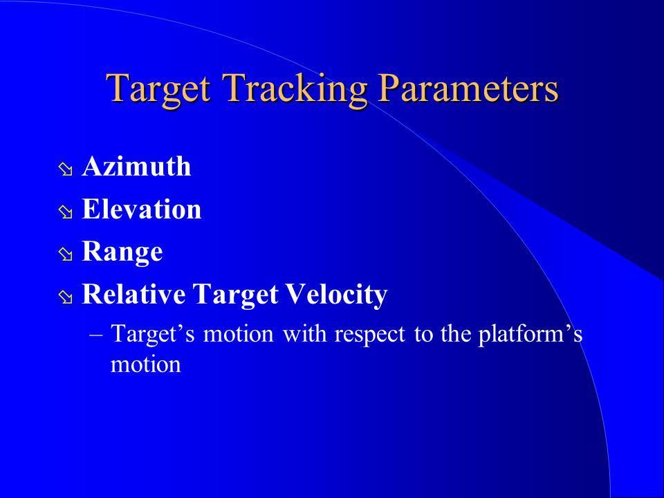 Target Tracking Parameters ø Azimuth ø Elevation ø Range ø Relative Target Velocity –Targets motion with respect to the platforms motion