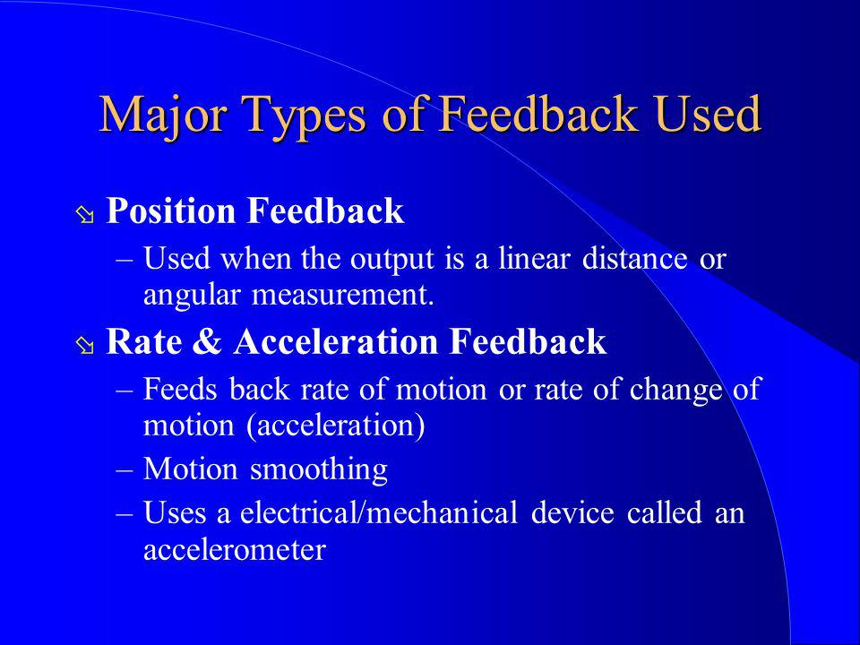 Major Types of Feedback Used ø Position Feedback –Used when the output is a linear distance or angular measurement. ø Rate & Acceleration Feedback –Fe