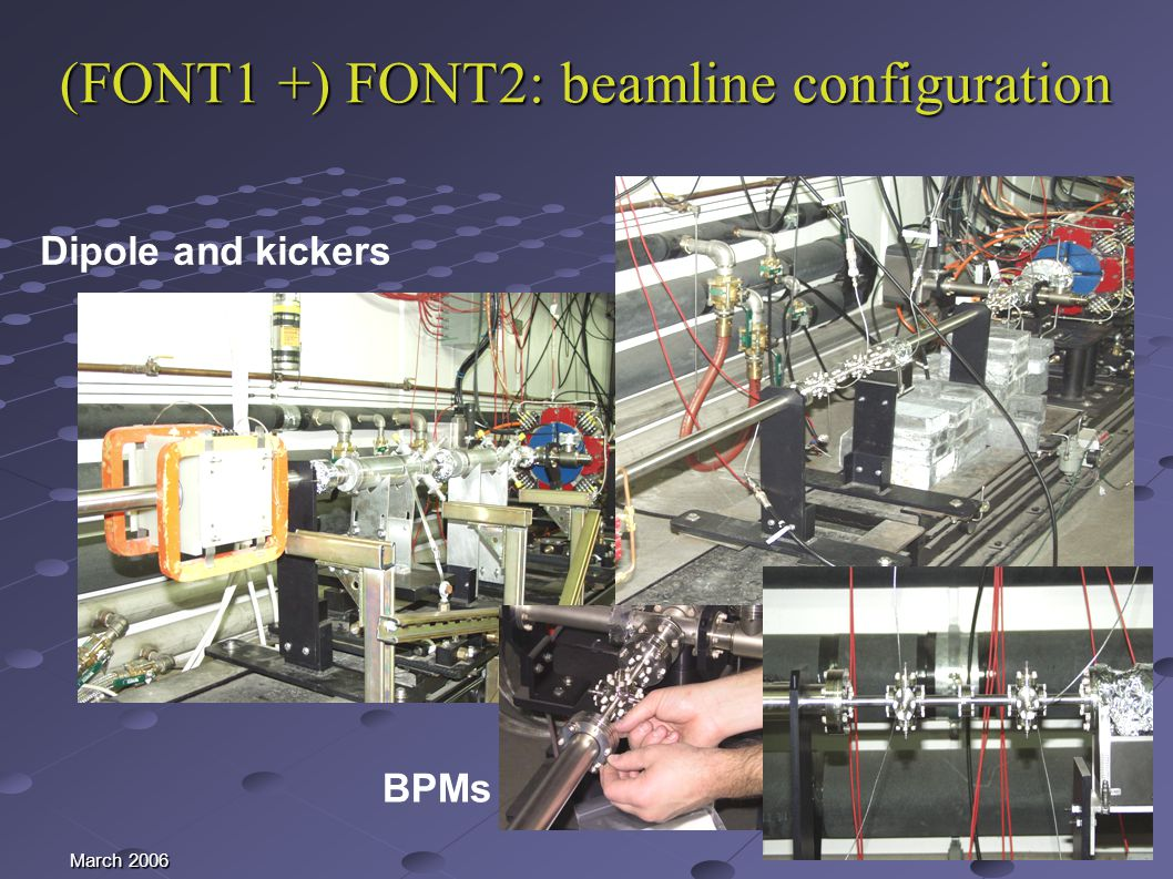 March 2006 (FONT1 +) FONT2: beamline configuration Dipole and kickers BPMs