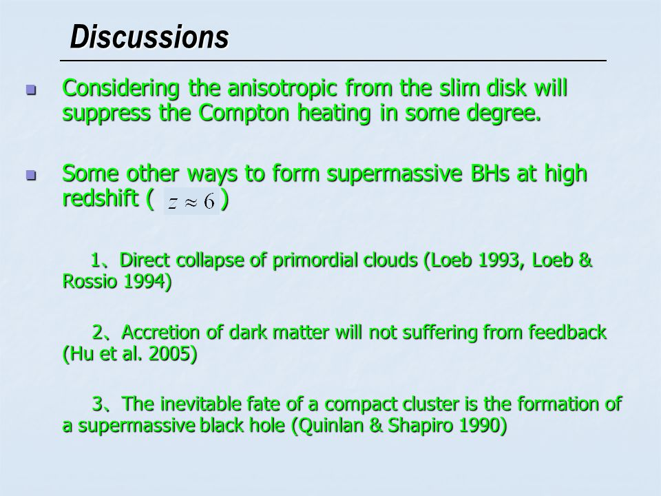 Discussions Considering the anisotropic from the slim disk will suppress the Compton heating in some degree.