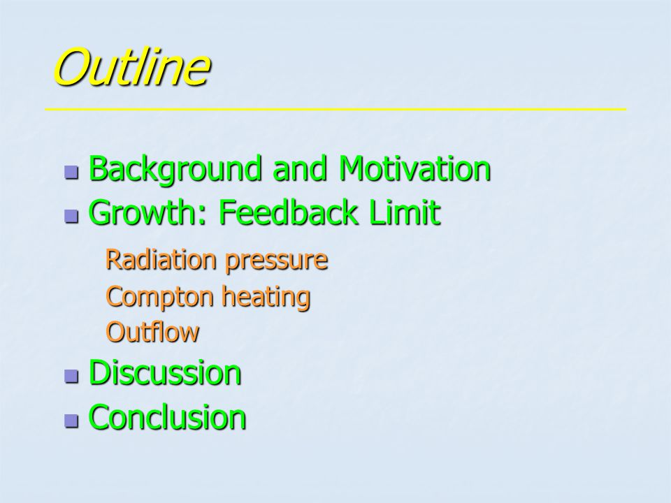 Outline Background and Motivation Background and Motivation Growth: Feedback Limit Growth: Feedback Limit Radiation pressure Radiation pressure Compton heating Compton heating Outflow Outflow Discussion Discussion Conclusion Conclusion