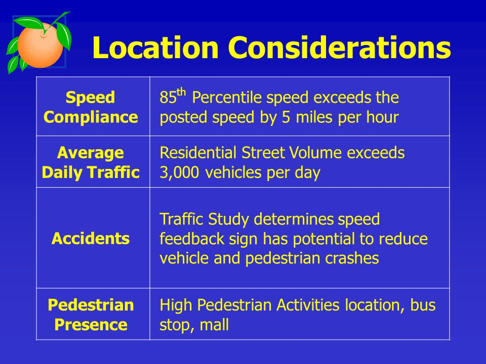 Speed Compliance 85 th Percentile speed exceeds the posted speed by 5 miles per hour Average Daily Traffic Residential Street Volume exceeds 3,000 vehicles per day Accidents Traffic Study determines speed feedback sign has potential to reduce vehicle and pedestrian crashes Pedestrian Presence High Pedestrian Activities location, bus stop, mall