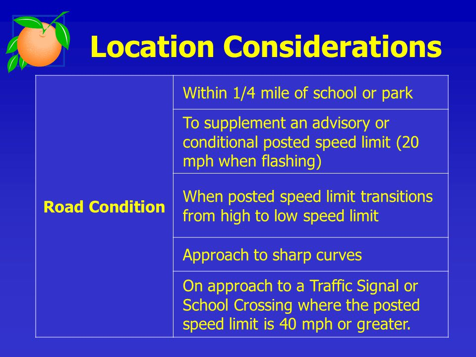 Location Considerations Road Condition Within 1/4 mile of school or park To supplement an advisory or conditional posted speed limit (20 mph when flashing) When posted speed limit transitions from high to low speed limit Approach to sharp curves On approach to a Traffic Signal or School Crossing where the posted speed limit is 40 mph or greater.