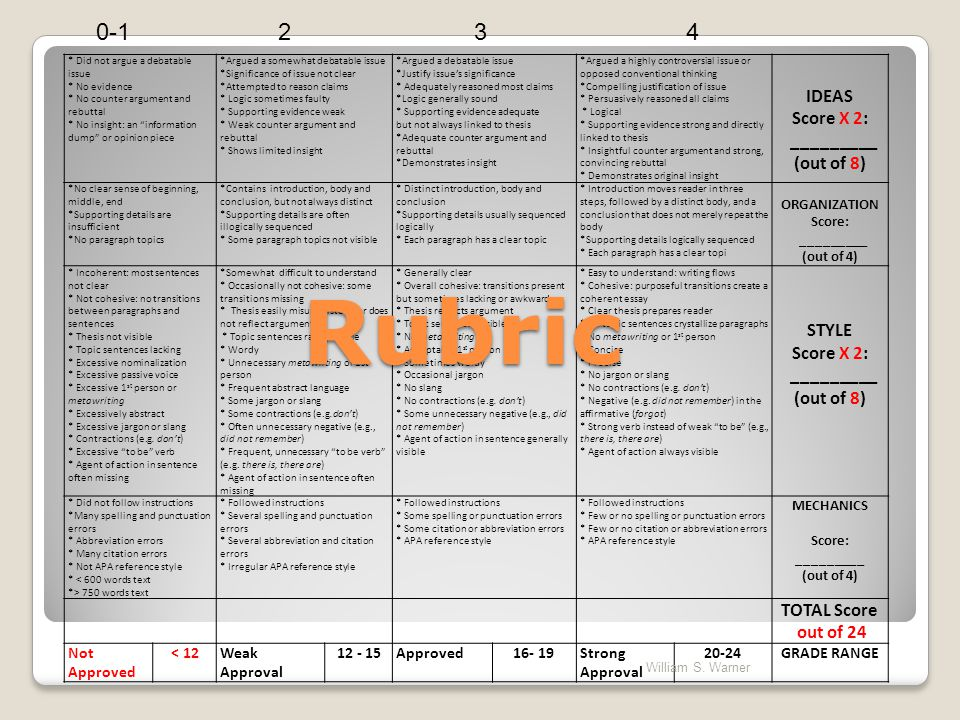 Student TA Rubric Scores William S. Warner Were not as smart as we think