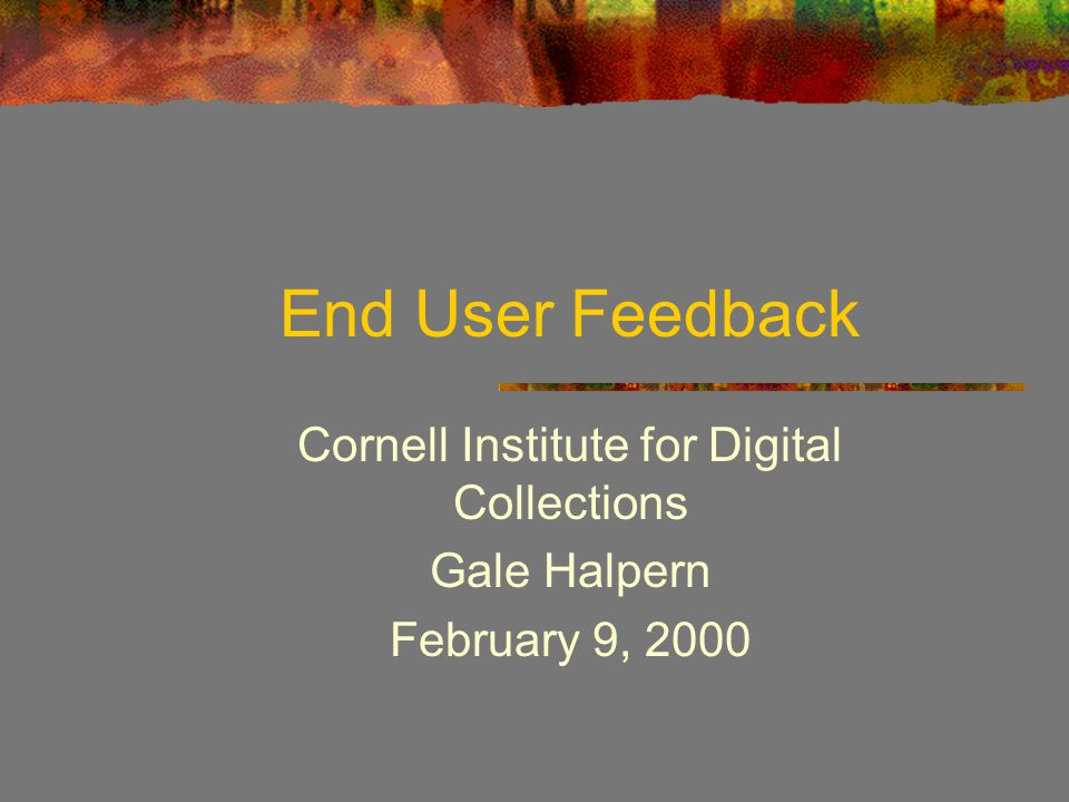 End User Feedback Cornell Institute for Digital Collections Gale Halpern February 9, 2000