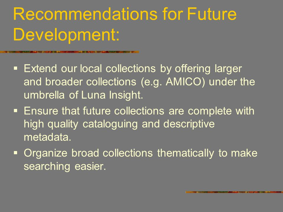 Recommendations for Future Development: Extend our local collections by offering larger and broader collections (e.g. AMICO) under the umbrella of Lun