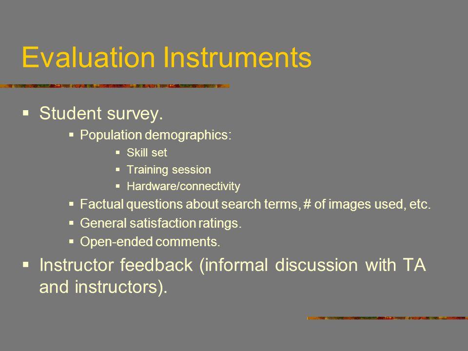 Evaluation Instruments Student survey.