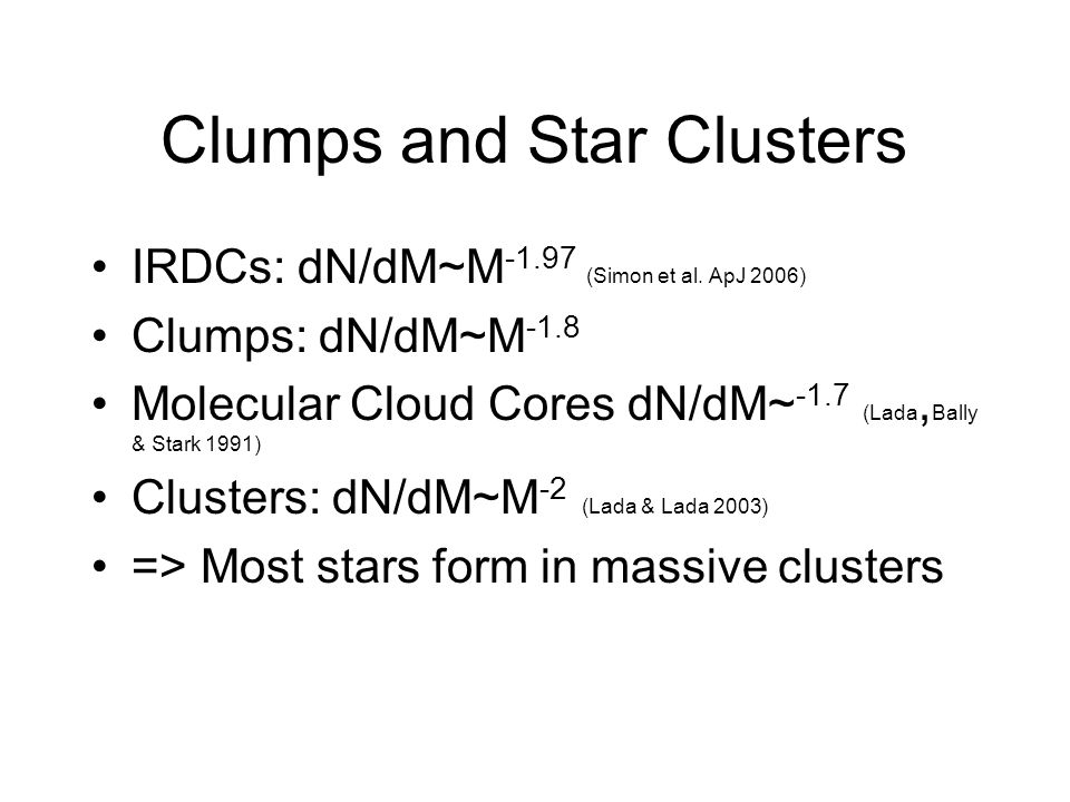 Clumps and Star Clusters IRDCs: dN/dM~M -1.97 (Simon et al.