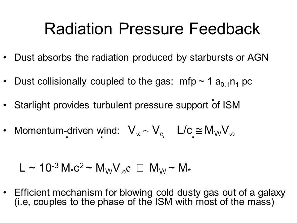 Forces Acting In Carina Inward –Self-Gravity of shell -GM sh (R) M sh (R)/R 2 –Turbulent pressure 4 r 2 v T 2 –Ram pressure 4 r 2 v sh 2 Outward –HII gas pressure 4 r 2 nkT = 4 r 2 (3Q/4 r 3 ) 1/2 kT –Radiation pressure (1+ )L/c, <1 –Jet ram pressure dM/dt v jet