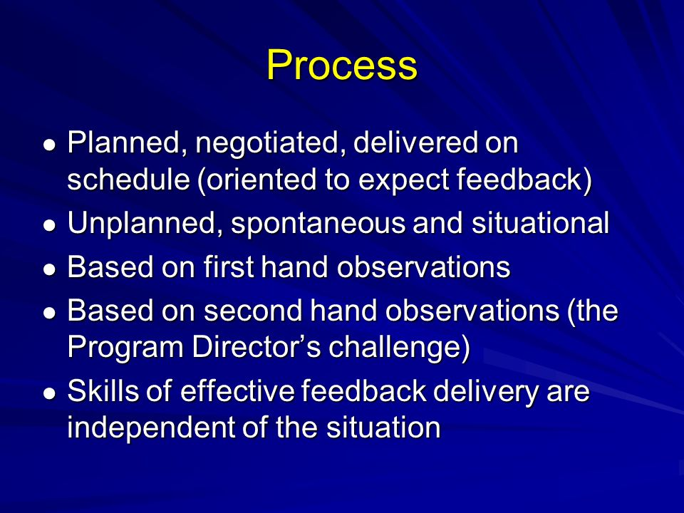 Process Planned, negotiated, delivered on schedule (oriented to expect feedback) Planned, negotiated, delivered on schedule (oriented to expect feedback) Unplanned, spontaneous and situational Unplanned, spontaneous and situational Based on first hand observations Based on first hand observations Based on second hand observations (the Program Directors challenge) Based on second hand observations (the Program Directors challenge) Skills of effective feedback delivery are independent of the situation Skills of effective feedback delivery are independent of the situation