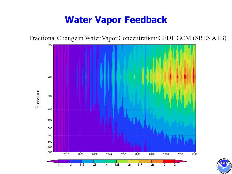 Water Vapor Feedback Fractional Change in Water Vapor Concentration: GFDL GCM (SRES A1B) Pressure